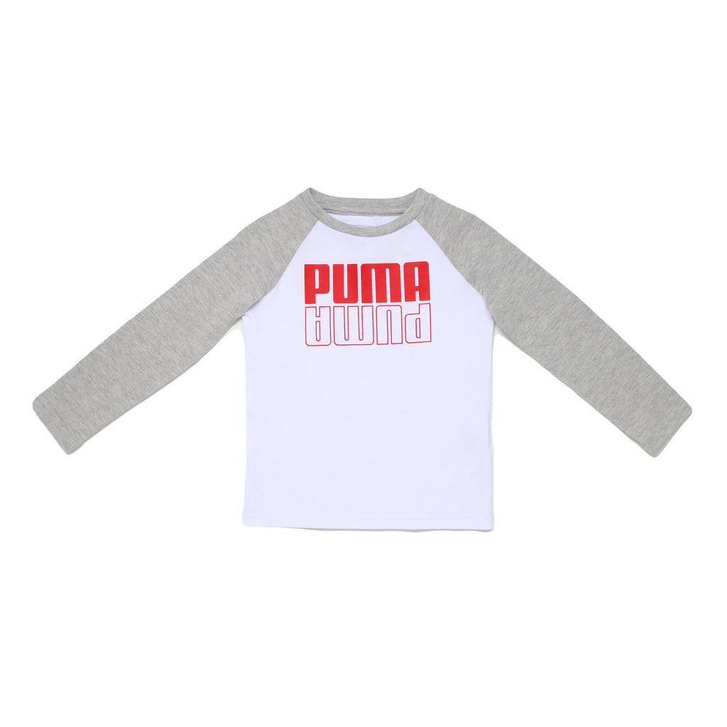 Toddler boys PUMA two tone long sleeve crew neck graphic tee shirt with white chest panel red mirror logo and grey sleeves