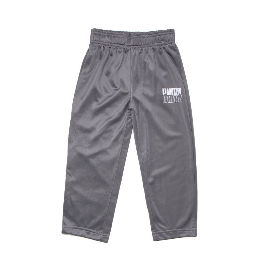 Toddler boys PUMA medium grey athletic trackpants sweat pant bottoms with elastic waistband and white logo on leg