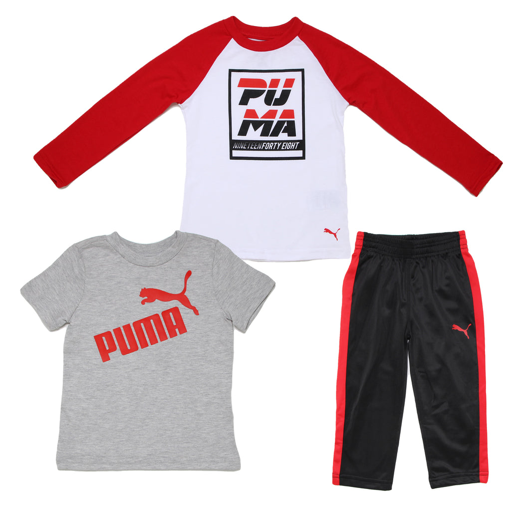 Toddler boys PUMA 3 piece red white black long sleeve tshirt short sleeve graphic tee shirt and athletic sweat pant jog set