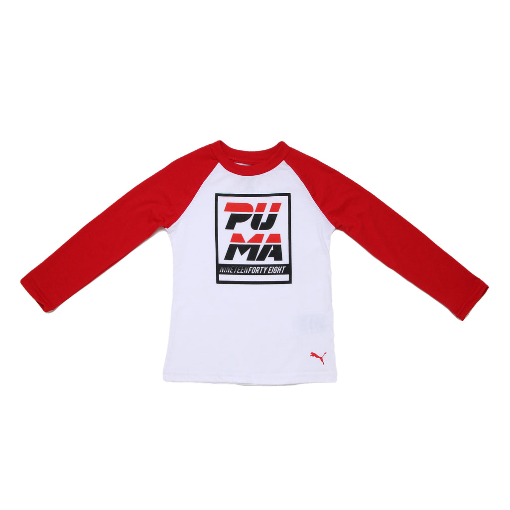 Toddler boys PUMA longsleeve crewneck graphic tee shirt with white chest panel with retro logo and red sleeves