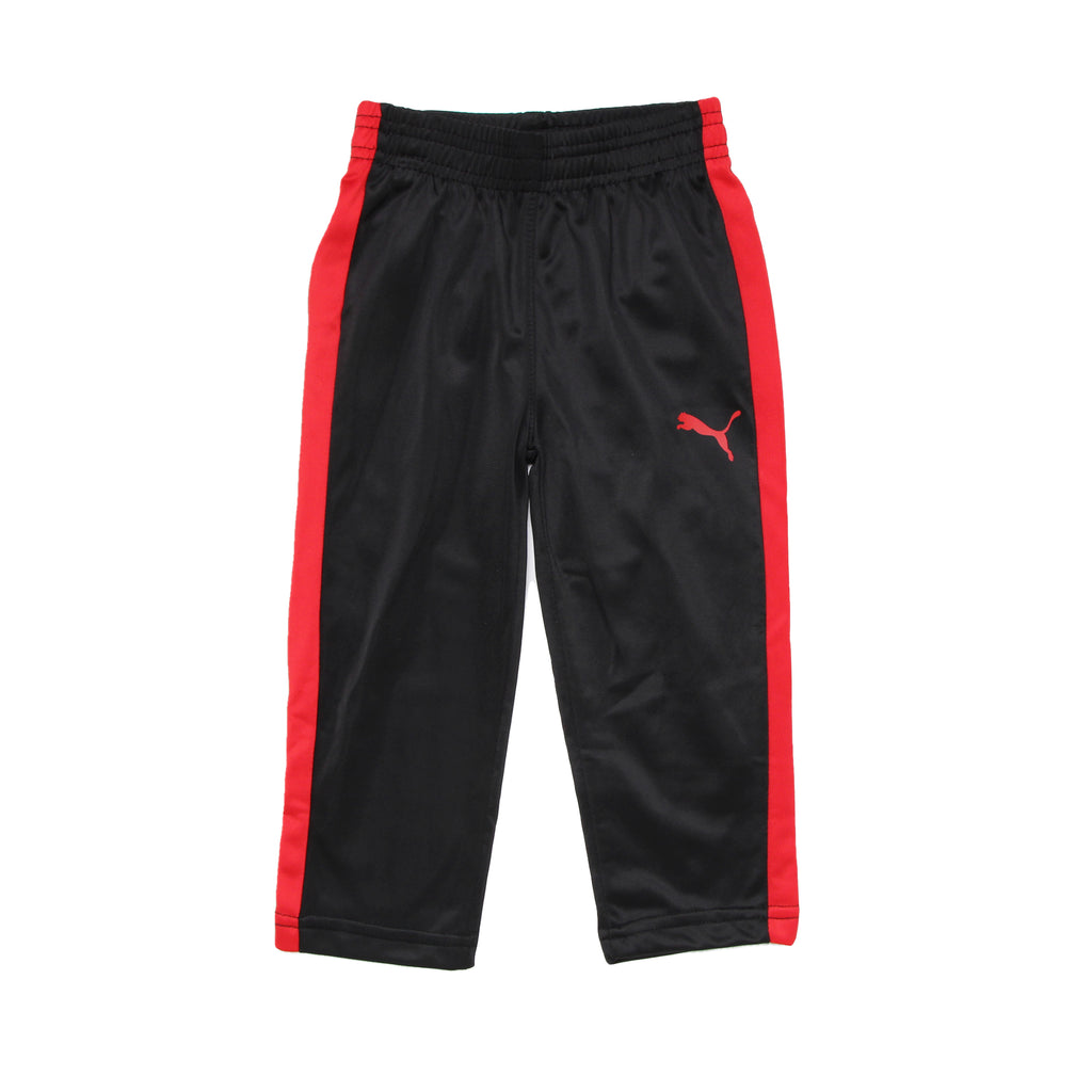 Toddler boys PUMA black trackpants with athletic red stripe down side of leg sweat pants
