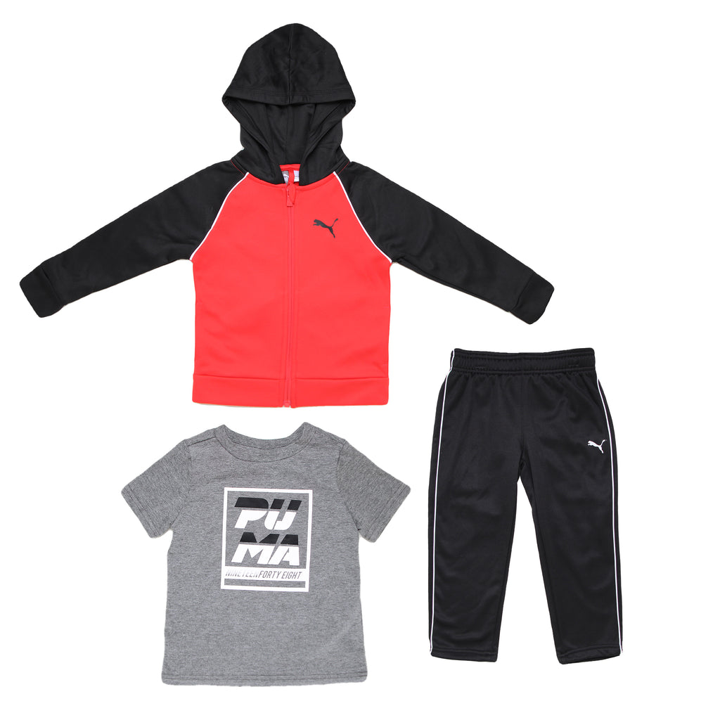 Toddler boys PUMA three piece set with red black hoodie sweatshirt shortsleeve grey graphic tee and black athletic sweatpants