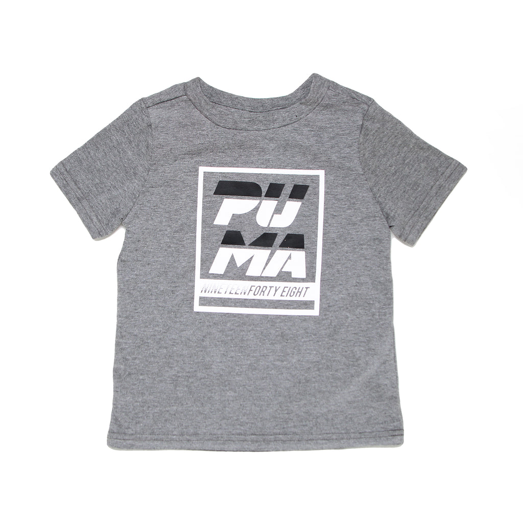 Toddler boys PUMA shortsleeve light heather grey graphic tee with PUMA logo on chest