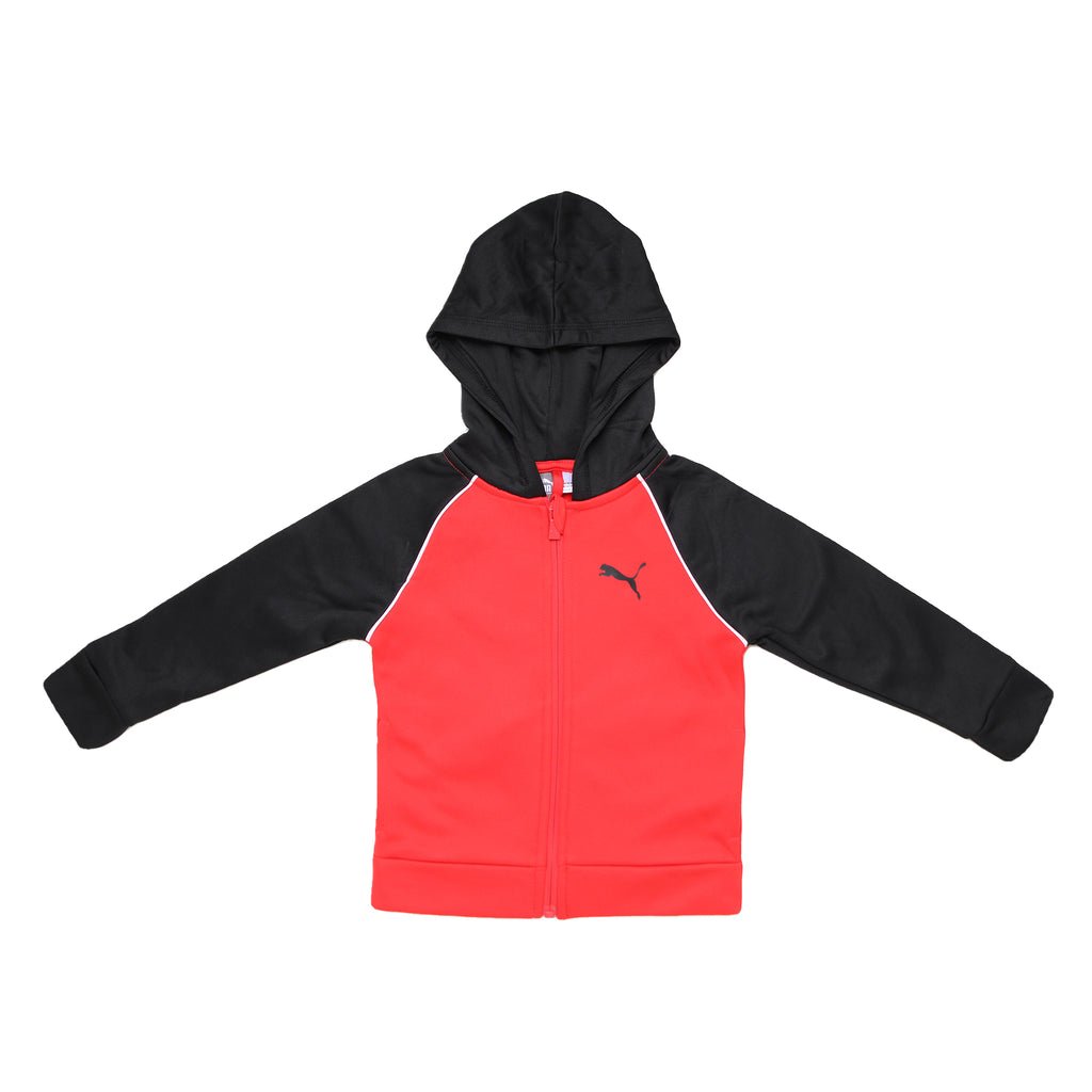 Toddler boys PUMA longsleeve red and black hooded sweatshirt with white color contrast piping hoodie