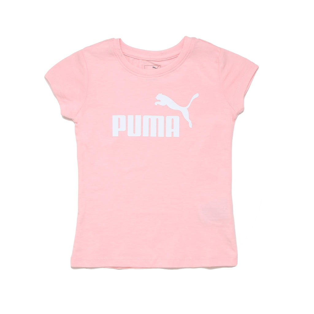 Toddler girls PUMA short sleeve crew neck light baby pink graphic tee shirt with PUMA big cat logo in white on chest