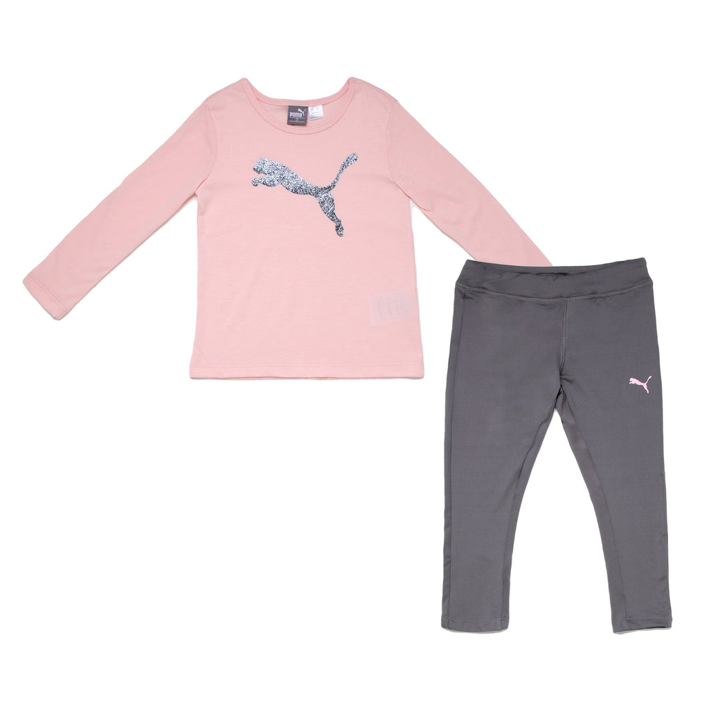 Toddler girls PUMA 2 piece performance set with crewneck longsleeve tee shirt with glitter big cat logo and legging pants