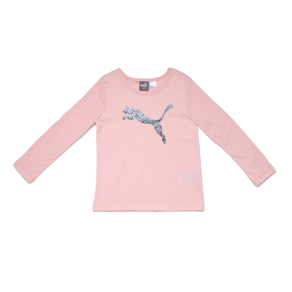 Toddler girls PUMA performance crew neck long sleeve light pink rose tee shirt with silver glitter big cat logo on chest