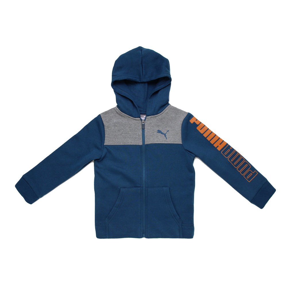 Little boys PUMA full front zippered hooded sweatshirt hoodie in navy blue with grey chest panel and orange logo on sleeve