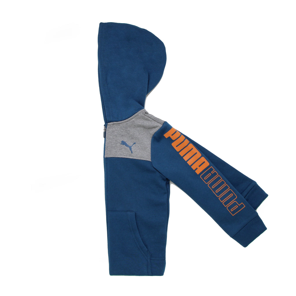 Close up of little boys PUMA sweat shirt hoodie showing blue big cat logo on chest and orange logo on navy blue sleeves
