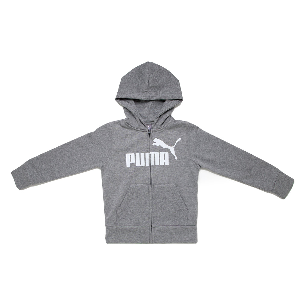 Little boys PUMA full front zippered zipup sweat shirt hoodie in charcoal heather grey with white big cat logo across chest