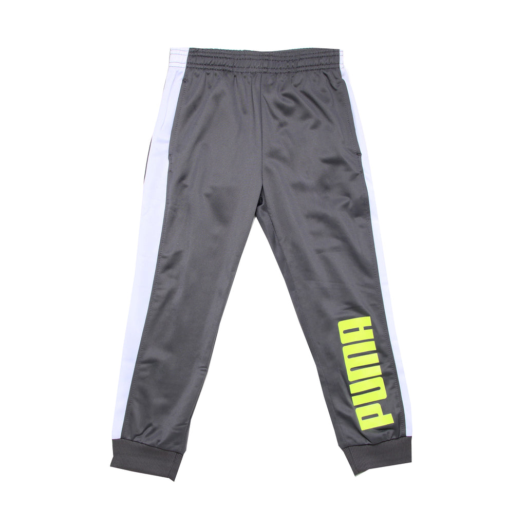Little boys PUMA silver shiny grey athletic track pant sweatpant with ribbed cuff bottoms joggers with white stripe down side