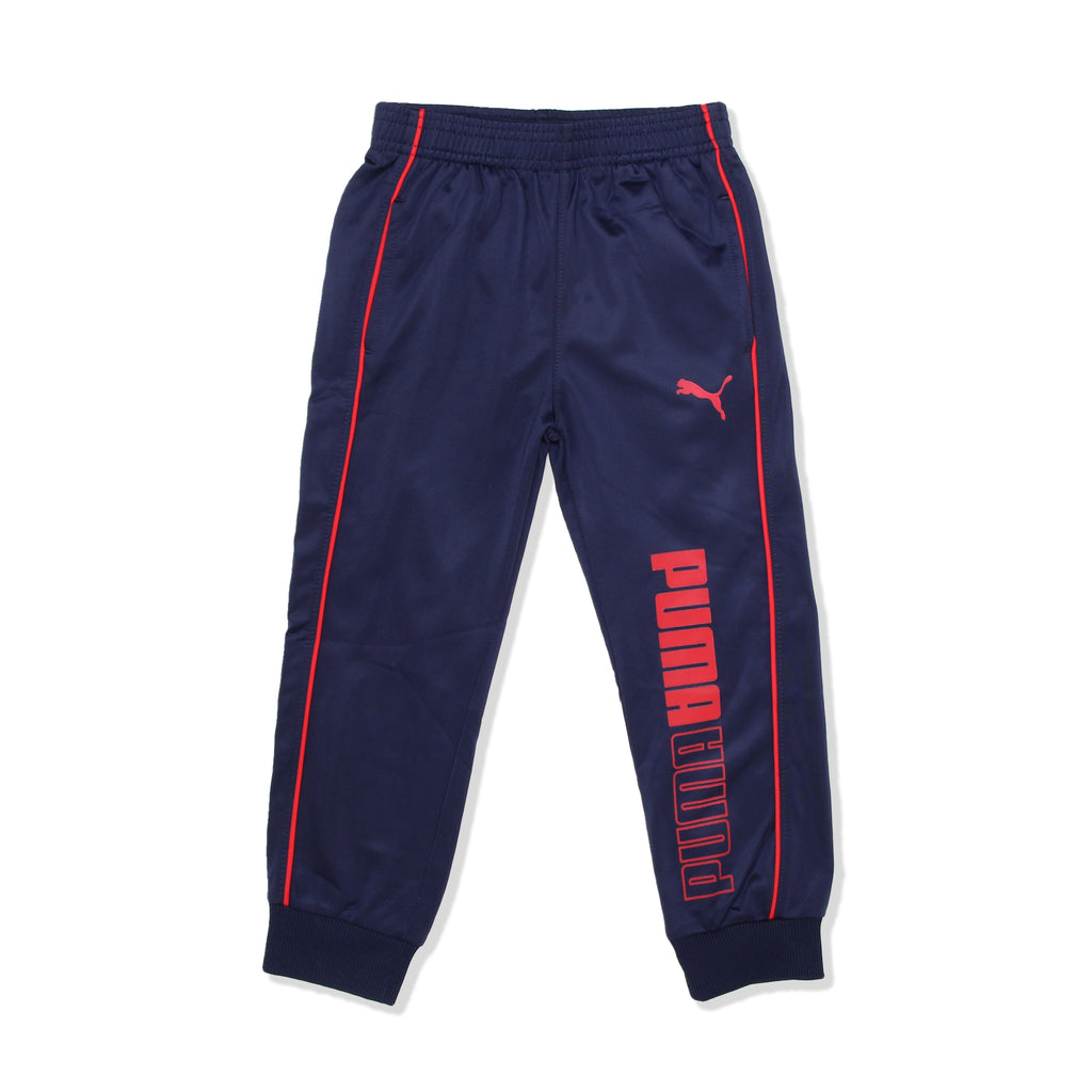 PUMA Little Boys Track Pant Jogger Cuff Sweatpants with two side pockets Contrast Color Piping PUMA Big Cat Logo On Leg and Ribbed Jogger Cuff Hem