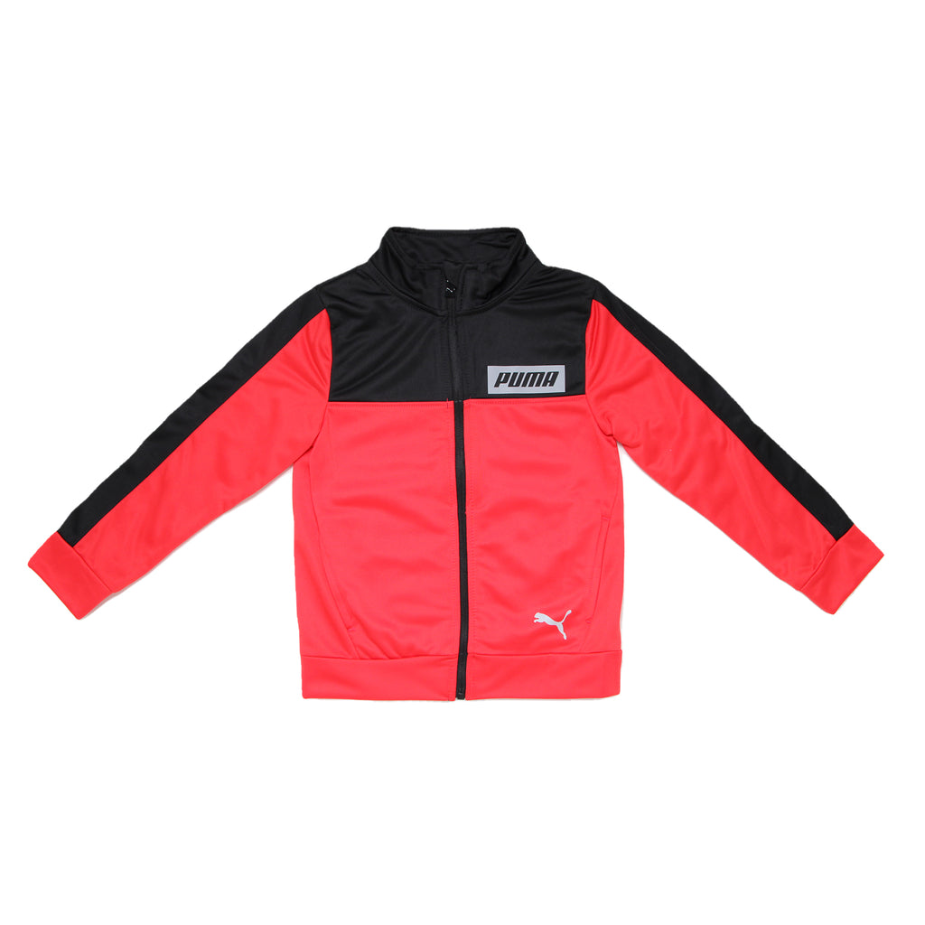 Little boys PUMA red and black tracksuit track jacket long sleeve full front zippered zip up sweatshirt with chest logo panel