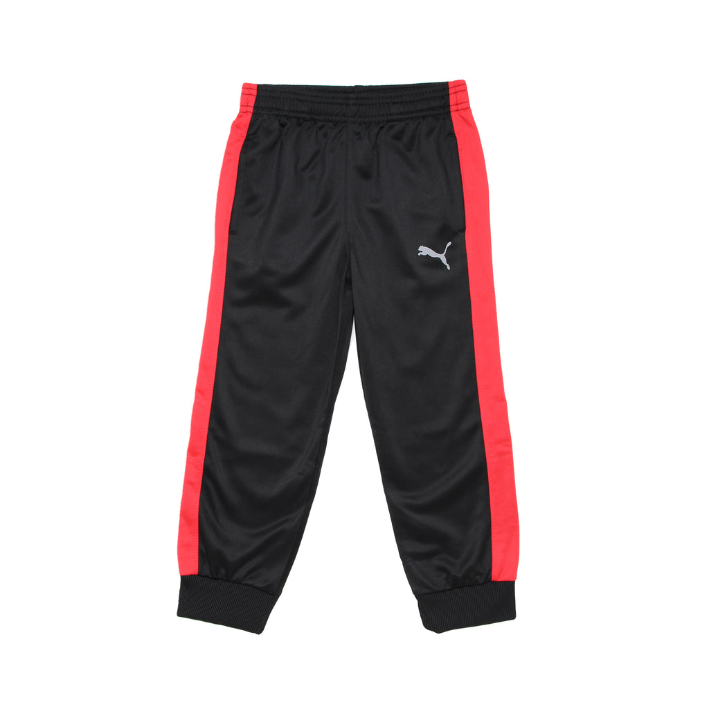 Little boys PUMA black with red athletic striping down leg and logo in silver track pant sweatpants jogger bottoms