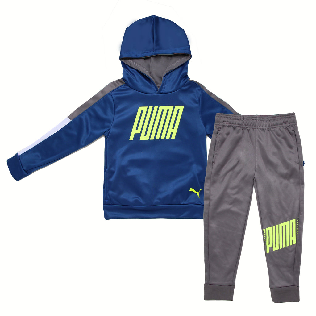 Little boy PUMA 2 piece set with pullover royal navy blue hoodie sweatshirt with neon logo on chest and matching jogger pants