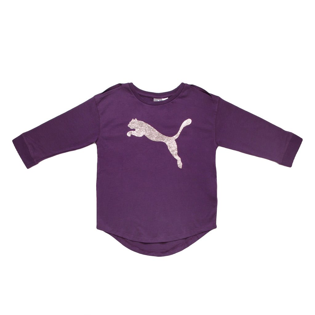 Big Girls PUMA dark plum purple long sleeve crewneck shirt with glitter silver big cat logo on chest and split seam shoulders