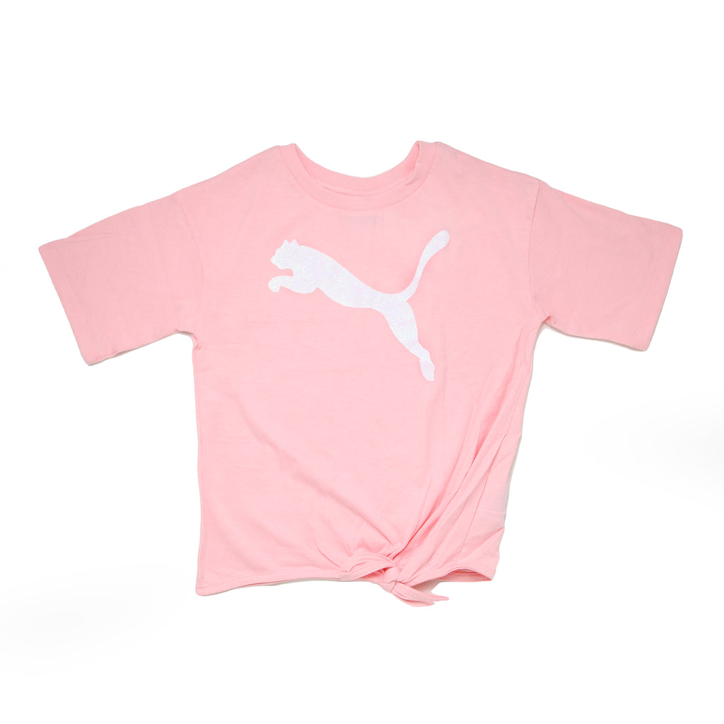 Girls light pink short sleeve tee shirt with fashion knot hem at center bottom of shirt with white PUMA big cat logo on chest