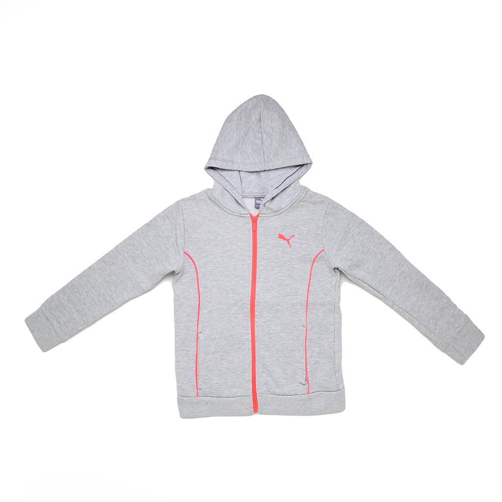 Girls PUMA light heather grey zipup hooded longsleeve hoodie sweatshirt with neon pink color contrast piping and zipper