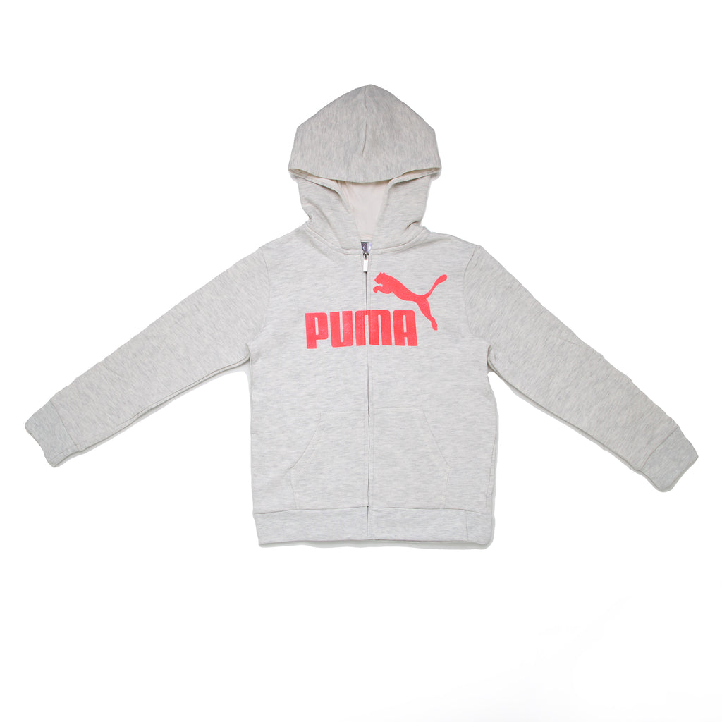 Girls PUMA light heather grey zip up zippered hooded longsleeve hoodie sweatshirt with neon pink big cat logo across chest