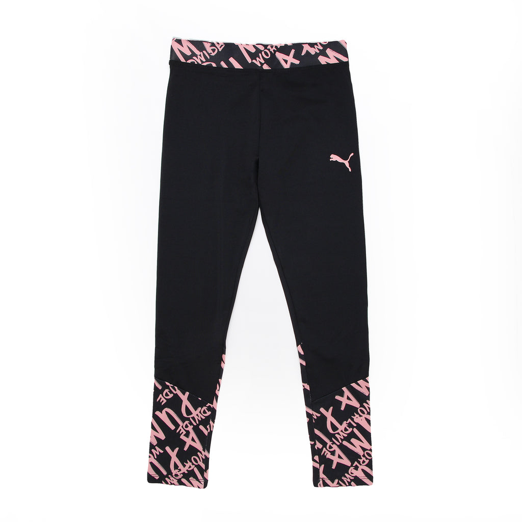 Big Girls PUMA solid black workout stretch legging pant bottoms with wide elastic waistband and pink PUMA worldwide verbiage