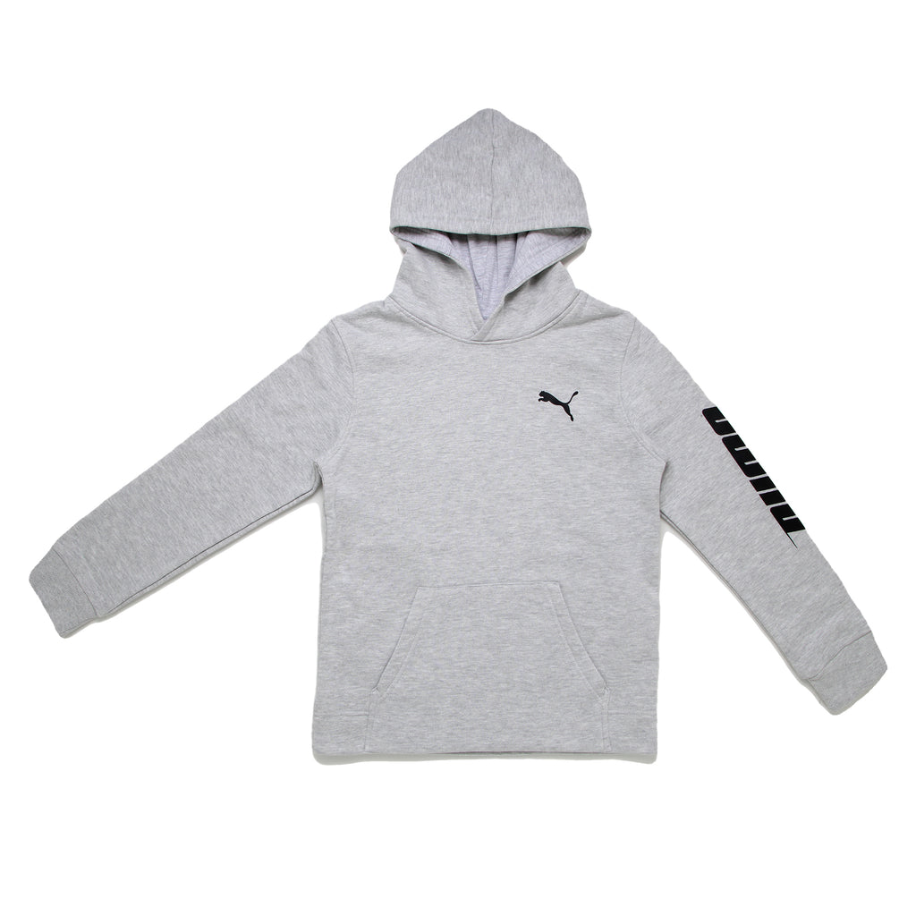 Boys PUMA light heather grey longsleeve pullover hooded sweatshirt hoodie with extended kangaroo pocket and big cat logo