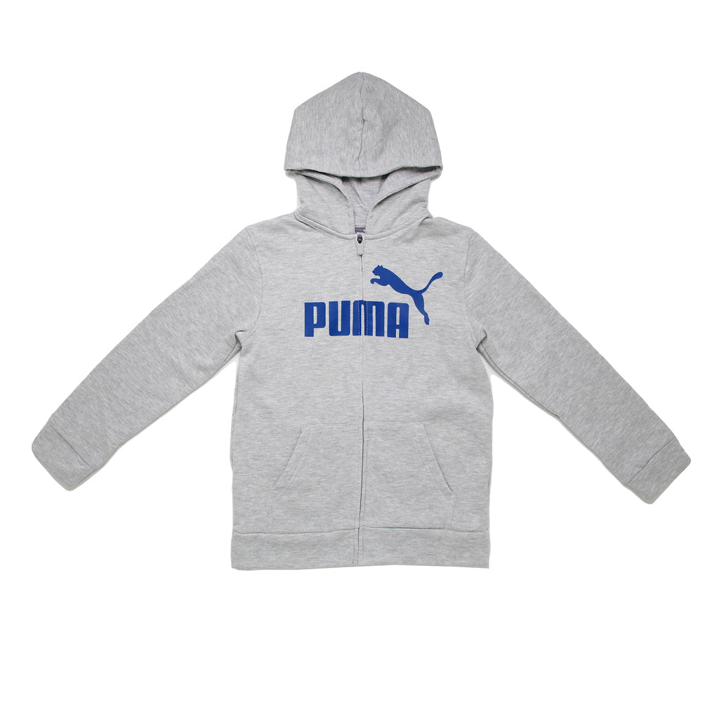 Big boys PUMA light heather grey full front zippered sweat shirt zip up hoodie with bright blue big cat logo on chest