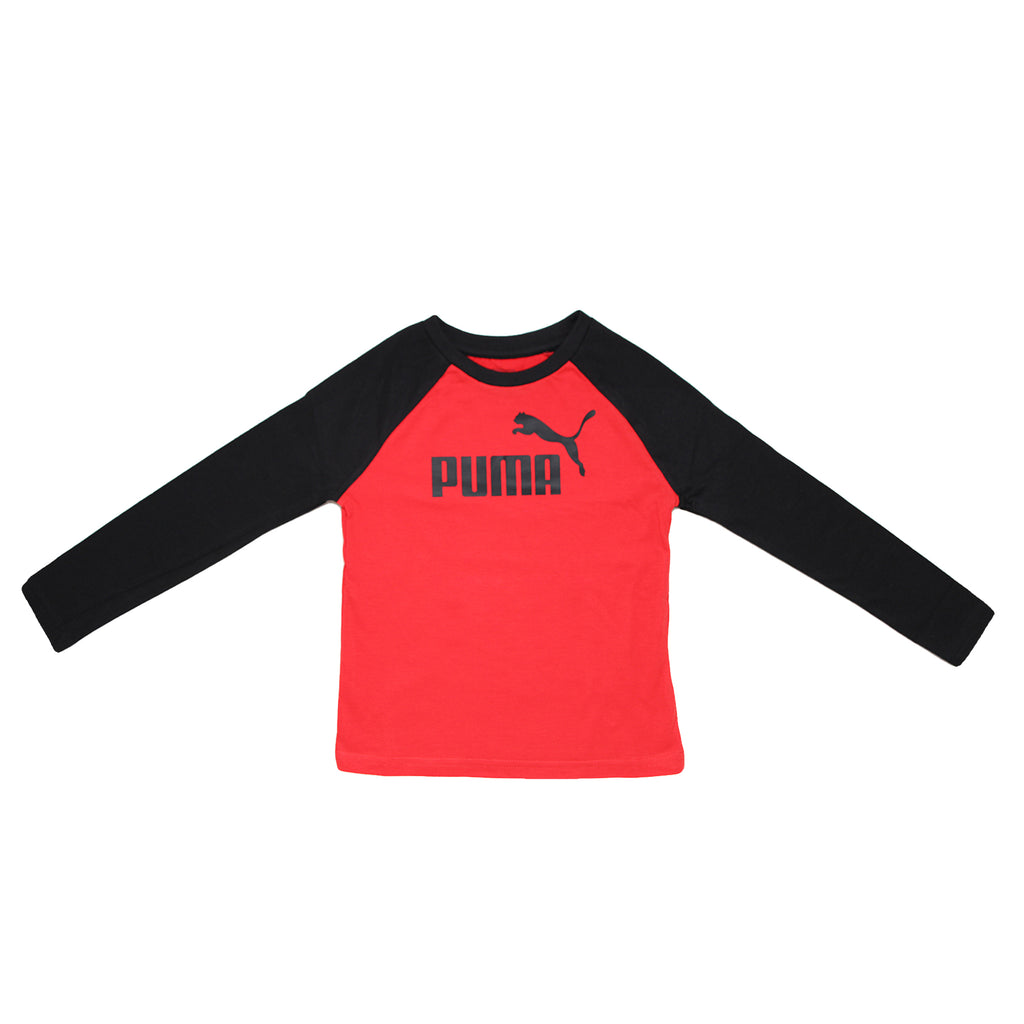 Boys PUMA long sleeve two tone tee shirt with red body panel construction and black sleeves and PUMA big cat logo on chest