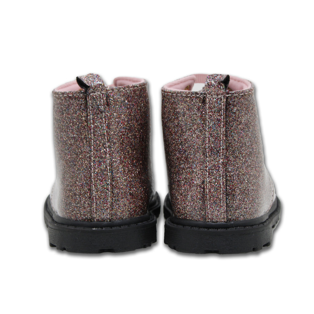 Baby Deer Baby Toddler Girls Metallic Glitter Shimmer Doc Boot Ribbon Shoestring with Tie Closure Metallic Glitter Shine and Plastic Pull Tab In Back
