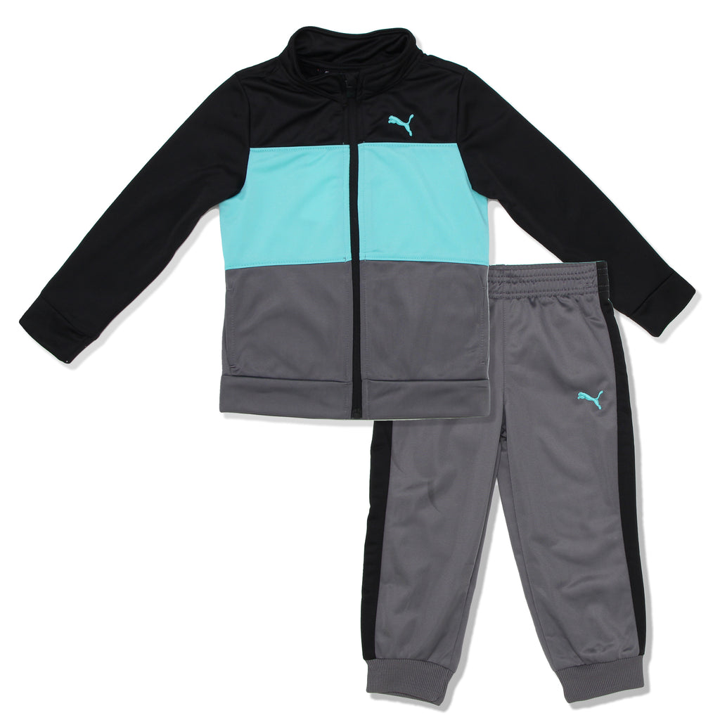 PUMA Toddler Boys 2 Piece Track Jacket Jogger Pant Set Includes Longsleeve Track Jacket Sweater And Jogger Pants in grey black and turquoise colors