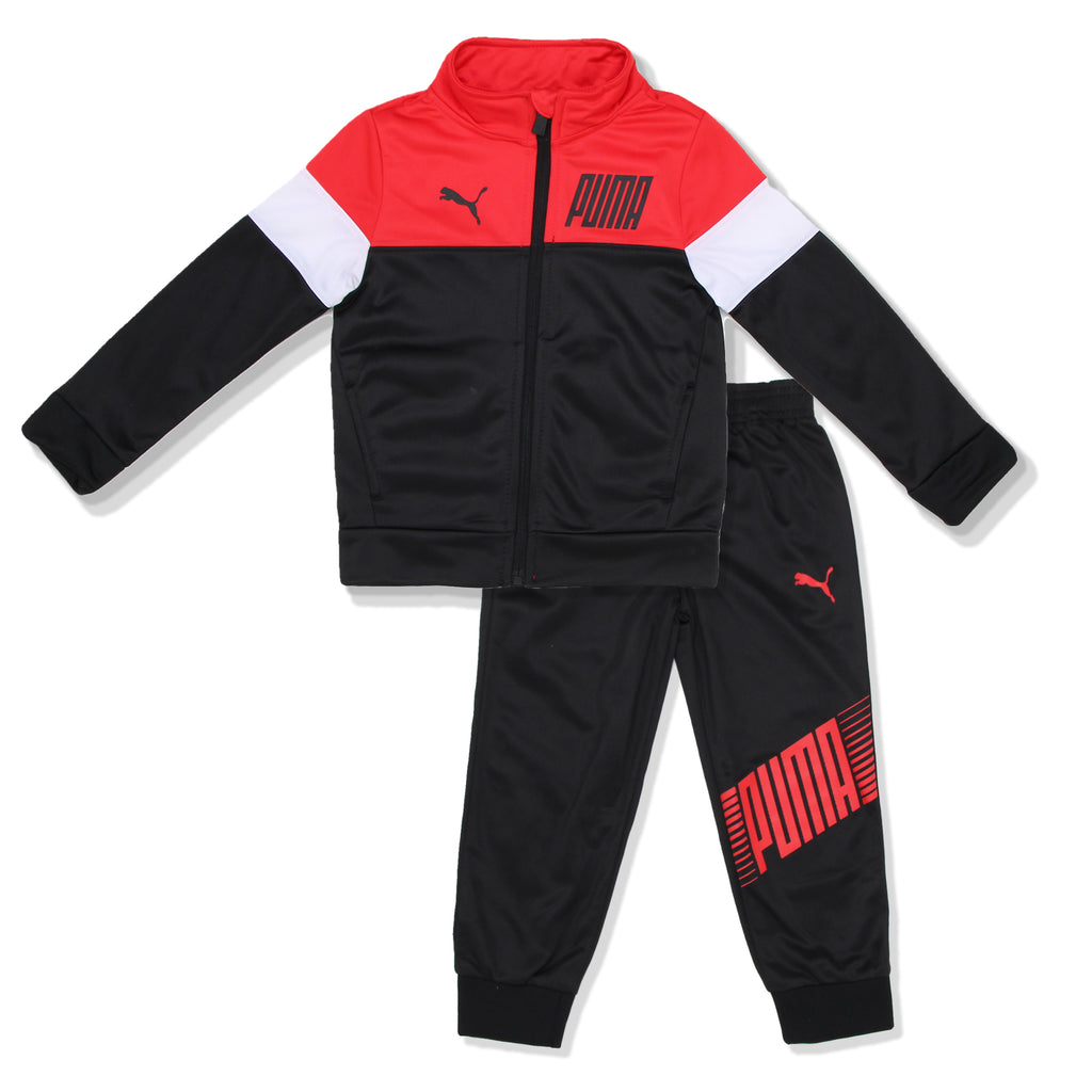 PUMA Toddler Boy 2 Piece Track Jacket Jogger Pant Set Includes Long Sleeve Zip Up Sweatshirt And Jogger Pant Bottoms in black red and white colors
