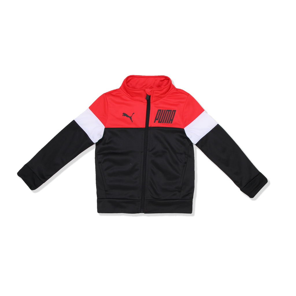 PUMA Toddler Boy 2 Piece Track Jacket Jogger has two Side Pockets and Full Length Front Zipper with PUMA verbiage and PUMA logo on the front