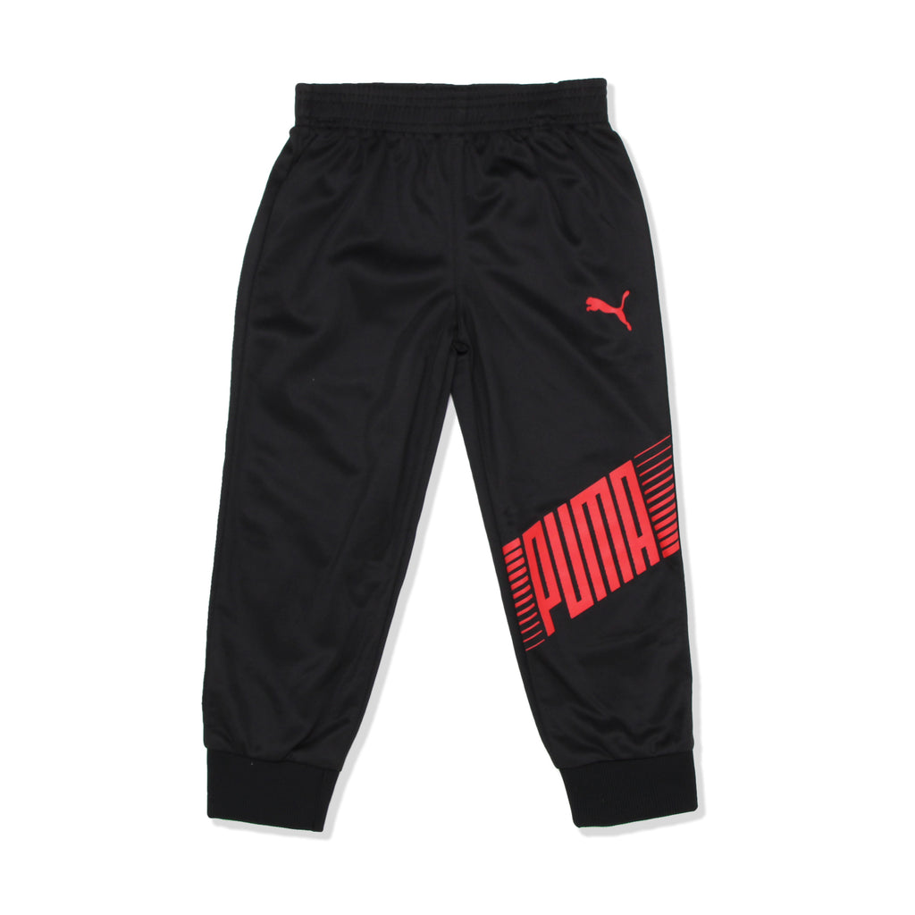 PUMA Toddler Boy 2 Piece Jogger Pant Bottoms Feature Ribbed Jogger Cuffs PUMA verbiage and small PUMA logo on the right leg