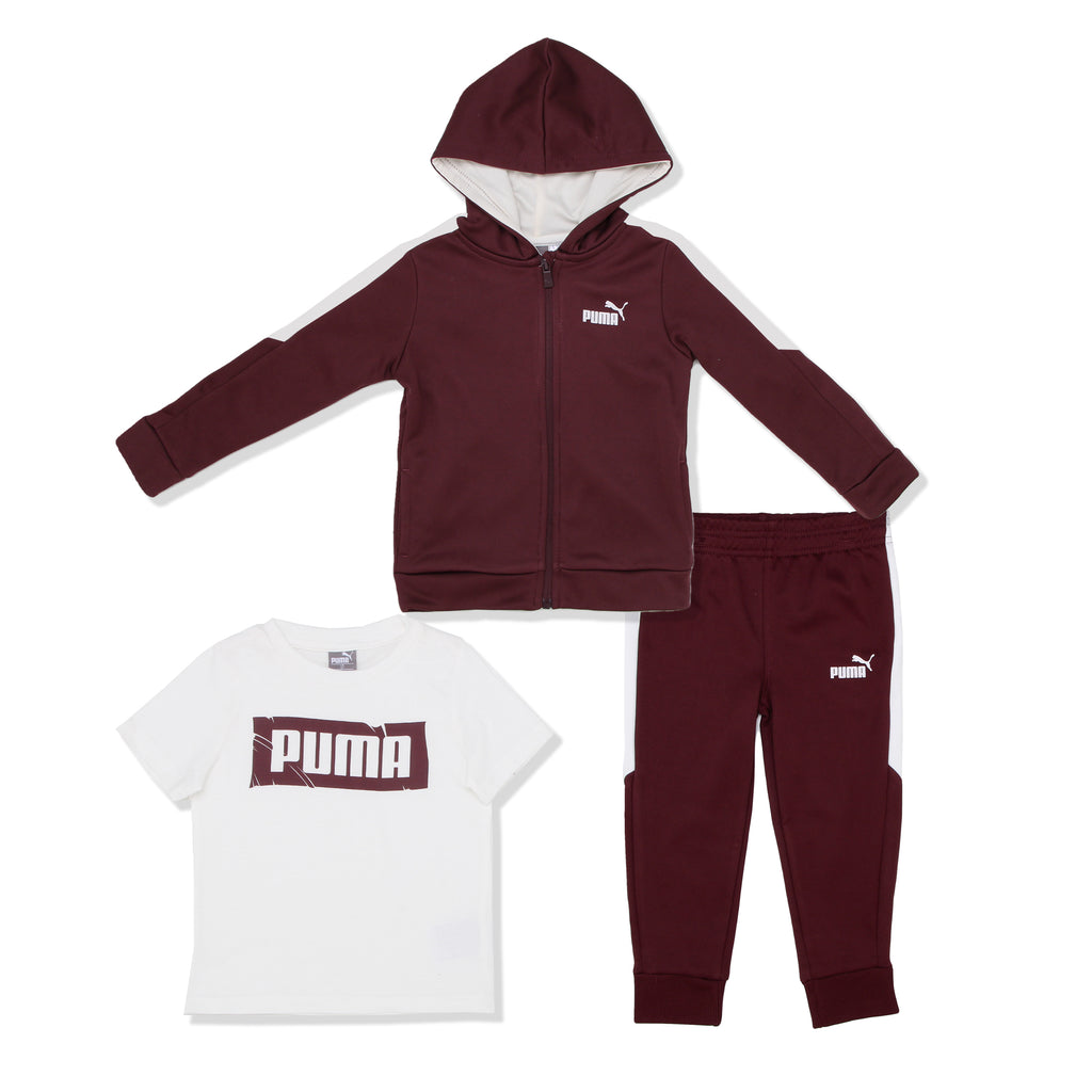 PUMA Toddler Boys three Piece set Includes Long Sleeve Zippered Hooded Sweat Shirt Short Sleeve Tee Shirt And Fleece Jogger Sweatpants