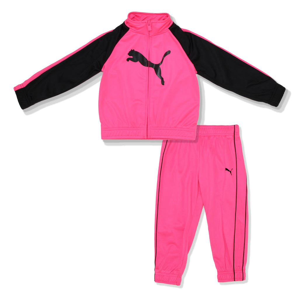 PUMA Toddler Girls Zip Up Hot Pink Track Jacket Jogger Set Includes Longsleeve Track Collared Jacket Sweater And Jogger Pants in neon pink and black