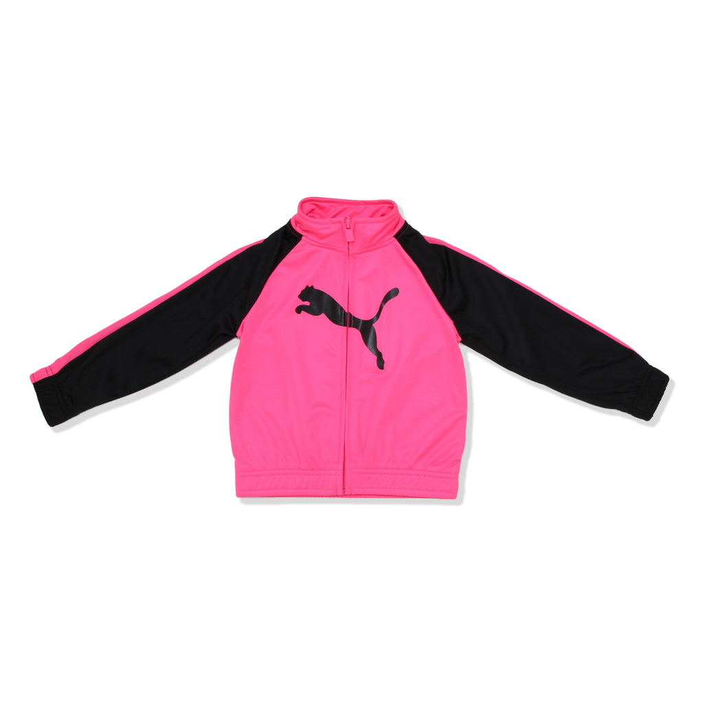 PUMA Toddler Girls Zip Up Hot Pink Track Jacket has two Side Pockets and Features PUMA Big Cat Logo and Contrast Panel Construction On Sleeves