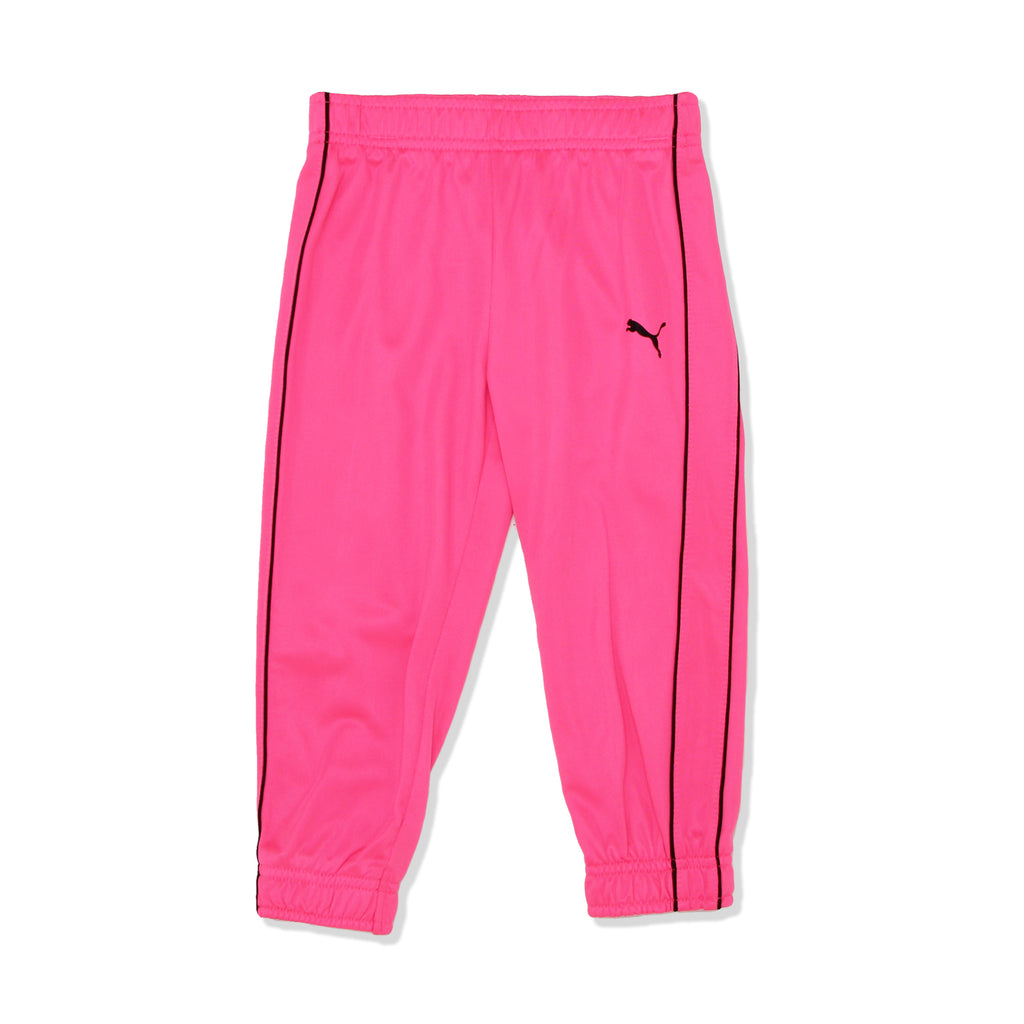PUMA Toddler Girls Hot Pink matching joggers Track pants feature Elastic Cinch Cuffs And Hem and small puma logo on upper leg area