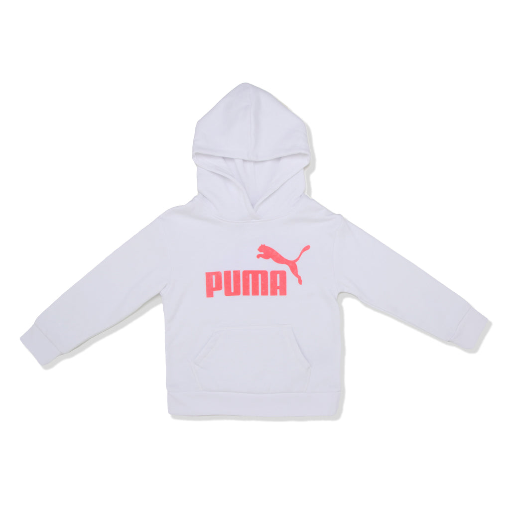 PUMA Little Girls Classic Pullover Hoodie Sweatshirt Long Sleeve with Bright Neon Colored Glitter PUMA Big Cat Logo On Chest and Kangaroo Pocket