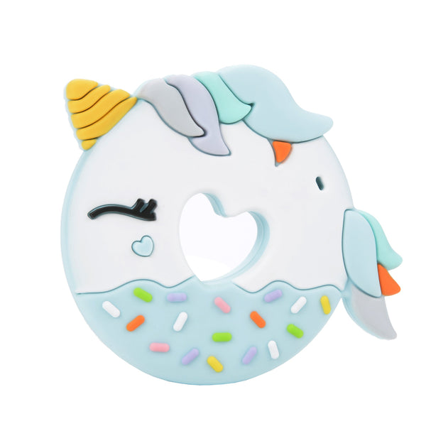 Loulou LOLLIPOP Unicorn Donut Teether SINGLE (UNICORN SINGLE)- Blue