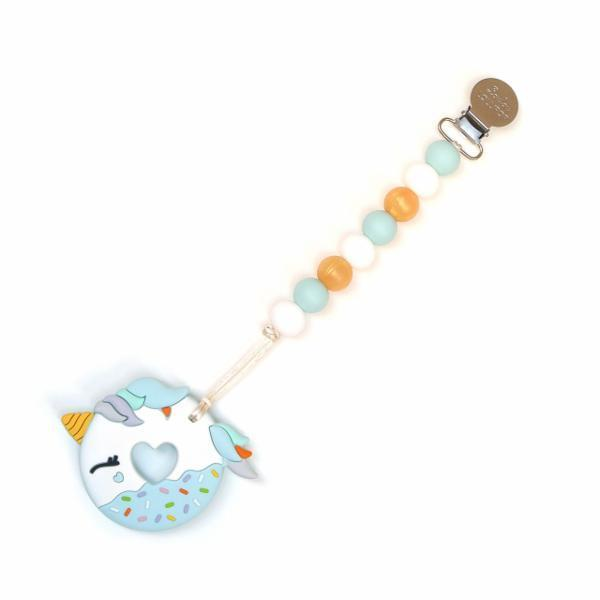 Loulou LOLLIPOP Unicorn Donut Teether- Blue Gold