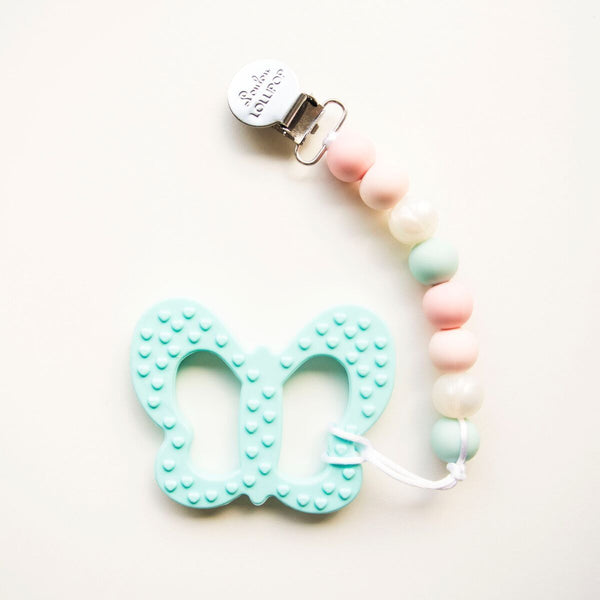 Loulou LOLLIPOP Aqua Butterfly with holder set (TEETHER)