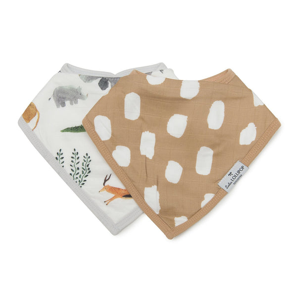 Loulou LOLLIPOP LUXE MUSLIN BANDANA BIB SET - SAFARI JUNGLE