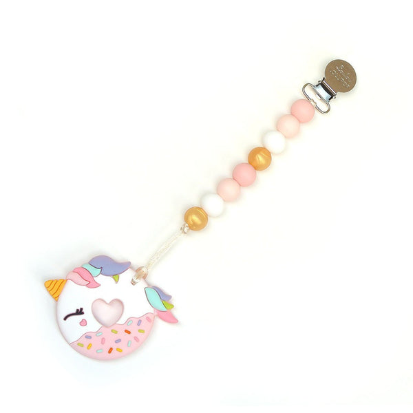 Loulou LOLLIPOP Unicorn Donut Teether wth holder- Pink Gold