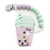 Loulou LOLLIPOP Bubble Tea Teether with holder-Lilac Mint