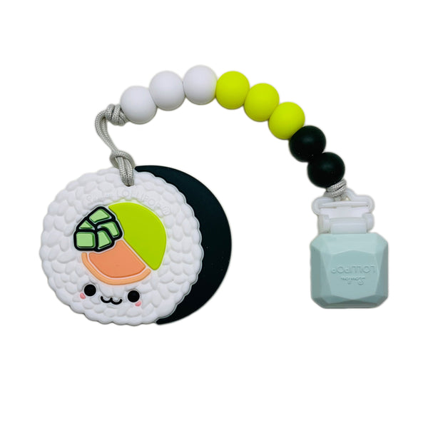 Loulou LOLLIPOP Silicone Teether with Clip - Sushi Roll Teether Set - Green