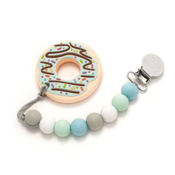Loulou LOLLIPOP Mint Donut Teether with holder set -Blue Mint