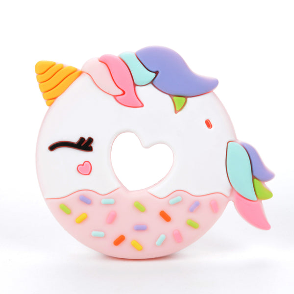 Loulou LOLLIPOP Unicorn Donut Teether SINGLE (UNICORN SINGLE)-Pink