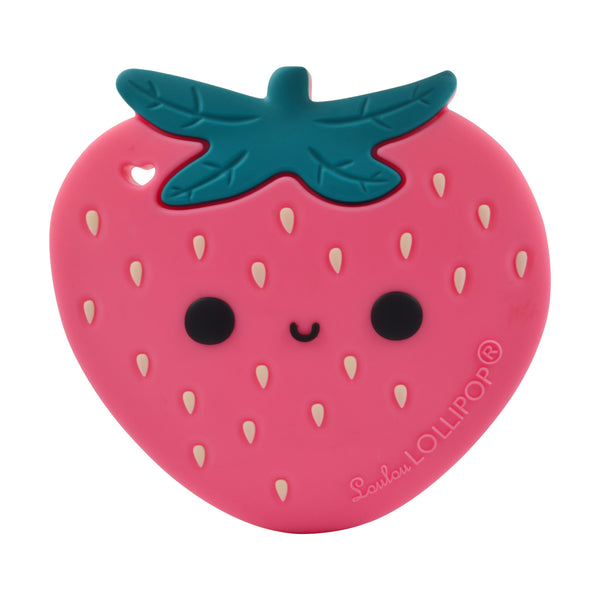 Loulou LOLLIPOP Silicone Teether With Clip - Strawberry