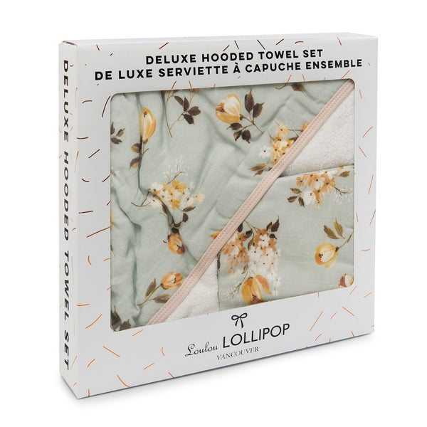 Loulou LOLLIPOP Wild Rose Hooded Towel Set