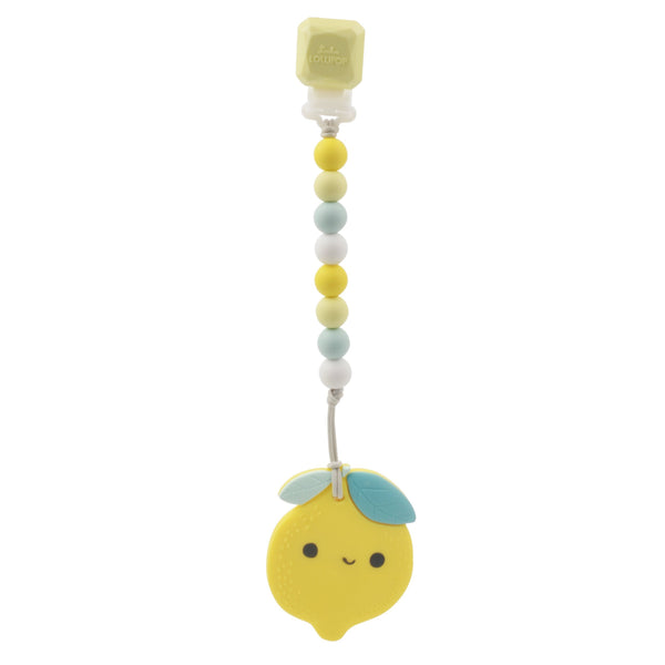 Loulou LOLLIPOP Silicone Teether With Clip - Lemon