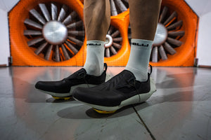 VeloVetta prototype cycling shoes in the wind tunnel vs. Specialized, Shimano and Bontrager test results.